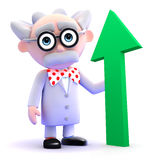 3d Mad scientist with green arrow pointing upwards Royalty Free Stock Photo