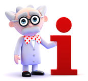 3d Mad scientist has information Stock Photo