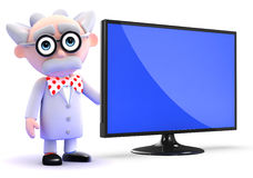 3d Mad scientist has a new flatscreen lcd monitor Royalty Free Stock Image