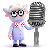 3d Mad scientist has a retro radio microphone Stock Images