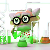 3d Mad scientist in his laboratory Stock Image