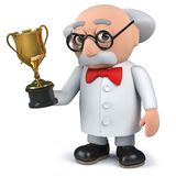 3d mad scientist holding a gold cup trophy award. Render of a 3d mad scientist holding a gold cup trophy award