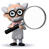 3d Mad scientist holds a magnifying glass Stock Image