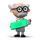 3d Mad scientist holds a USB memory drive Royalty Free Stock Photo