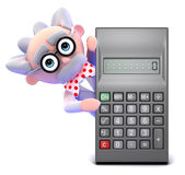 3d Mad scientist peeps round a calculator Royalty Free Stock Photography