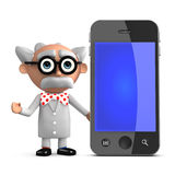3d Mad scientist with smartphone Royalty Free Stock Photo