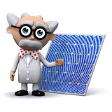 3d Mad scientist with a solar power panel Stock Image