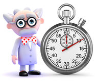3d Mad scientist with a stopwatch Stock Photo