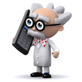 3d Mad scientist talks on a mobile phone Royalty Free Stock Image