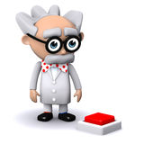 3d Mad scientist wants to press the red button Stock Image