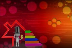 3D Magic Man With Dollar With Bar Graph illustration Stock Photos