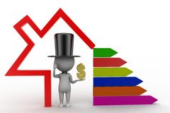 3D Magic Man With Dollar With Bar Graph Royalty Free Stock Image