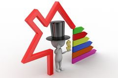 3D Magic Man With Dollar With Bar Graph Stock Photography