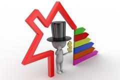 3D Magic Man With Dollar With Bar Graph Stock Photography