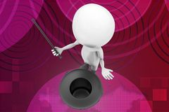 3d magic man with hat and wand illustration Stock Photo