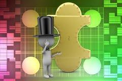 3d magician puzzle illustration Stock Photos