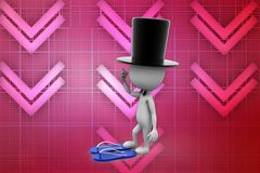 3d magician and sandals illustration Royalty Free Stock Photos