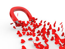 3d magnet attracting hearts Royalty Free Stock Photos