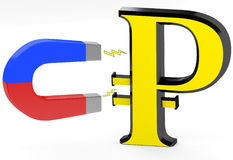 3d magnet and ruble sign Stock Images
