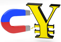 3d magnet and yen sign Stock Photos