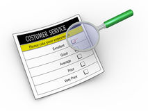 3d magnifier and evaluation form. 3d illustration of magnifying glass hover over customer service survey form with tick placed in excellent checkbox Stock Photography