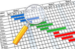3d magnifier and gantt chart Stock Photography