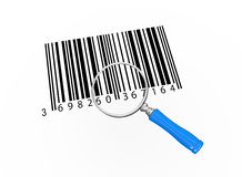 3d magnifier over barcodes. 3d illustration of magnifying glass over bar codes Royalty Free Stock Images