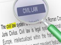 3d magnifier over civil law. 3d illustration of magnifying glass over defination of civil law Stock Images