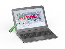 3d magnifier searching internet on laptop Stock Images