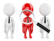 3d magnifier searching people or employee. 3d renderer image. Magnifier searching people or employee. Business concept on white background Stock Photos