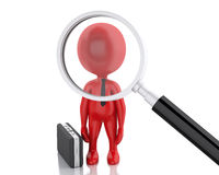 3d magnifier searching people or employee. 3d renderer image. Magnifier searching people or employee. Business concept on white background Royalty Free Stock Images