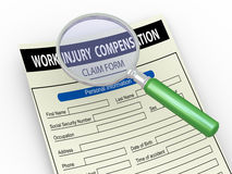3d magnifier and work injury claim form. 3d illustration of magnifier hover over work injury compensation claim form Royalty Free Stock Photos