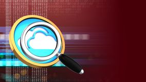 3d magnify glass. Abstract 3d red background with cloud symbol and magnify glass Royalty Free Stock Image