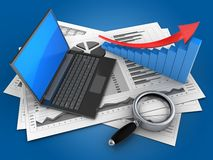 3d magnify glass. 3d illustration of business charts and black laptop over blue background with arrow graph Stock Photos