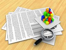 3d magnify glass. 3d illustration of documents and graph over wood table background Stock Images