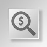 3D Magnifying Glass Button Icon Concept. 3D Symbol Gray Square Magnifying Glass Button Icon Concept Royalty Free Stock Images
