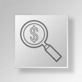 3D Magnifying Glass Button Icon Concept. 3D Symbol Gray Square Magnifying Glass Button Icon Concept stock illustration