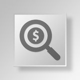 3D Magnifying Glass Button Icon Concept. 3D Symbol Gray Square Magnifying Glass Button Icon Concept Royalty Free Stock Image