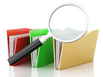 3d magnifying glass and computer files. 3d renderer illustration.Mmagnifying glass and computer files Royalty Free Stock Image