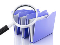 3d magnifying glass and computer files. 3d renderer illustration.Mmagnifying glass and computer files Stock Photos