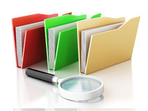 3d magnifying glass and computer files. 3d renderer illustration.Mmagnifying glass and computer files Royalty Free Stock Photos