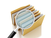 3d magnifying glass and computer files. 3d renderer illustration.Mmagnifying glass and computer files Stock Image