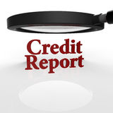 3D Magnifying Glass on Credit Report Stock Photo