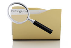 3d Magnifying glass examine investigations in folder Royalty Free Stock Photo