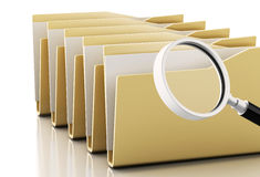 3d Magnifying glass examines files. 3d renderer image. Magnifying glass examines computers files. Isolated white background Stock Image