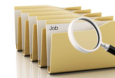 3d Magnifying glass examines job. 3d renderer image. Magnifying glass examines job in computers files. Isolated white background Stock Photos