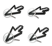 3D magnifying glass icon with the mouse cursor. 3D Icon Design S Royalty Free Stock Photos