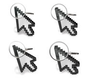 3D magnifying glass icon with the mouse cursor. 3D Icon Design S Royalty Free Stock Photography