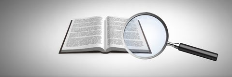 3D Magnifying glass over book. Digital composite of 3D Magnifying glass over book Stock Images