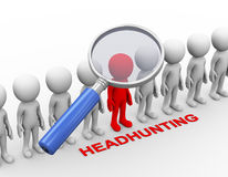 3d magnifying glass search for executive. 3d rendering of magnifier searching for highly skill person. Concept of headhunting. 3d white person people man vector illustration